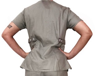 Camisa Scrub Anatomys Feminino CINZA  com ajuste para acinturar atrás  100% Algodão