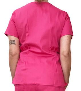 Camisa Scrub Anatomys Feminino  PINK  com ajuste para acinturar Atrás Botões PINK  Tecido 100% Algodão