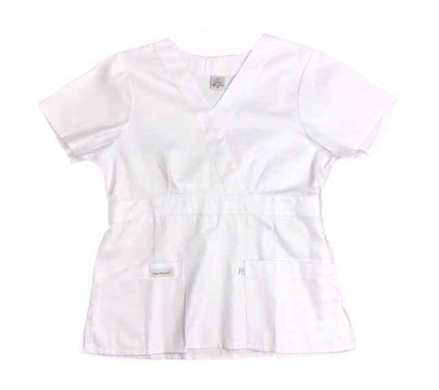 Camisa Scrub Anatomys Feminino BRANCA  com ajuste para acinturar atrás  100% Algodão