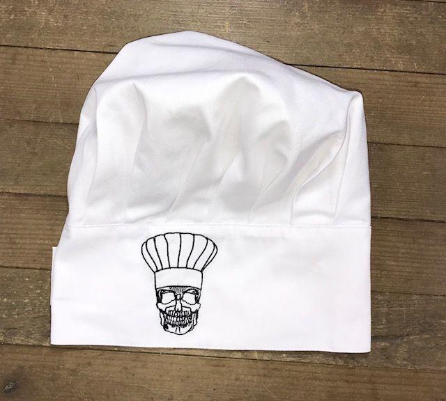 Chapéu Branco CAVEIRA CHEF Preta com velcro regulador tamanho