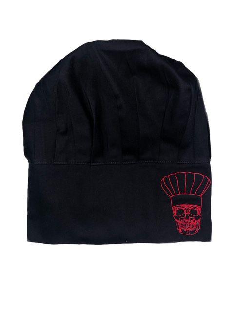 Chapéu Preto CAVEIRA CHEF Vermelha com velcro regulador tamanho