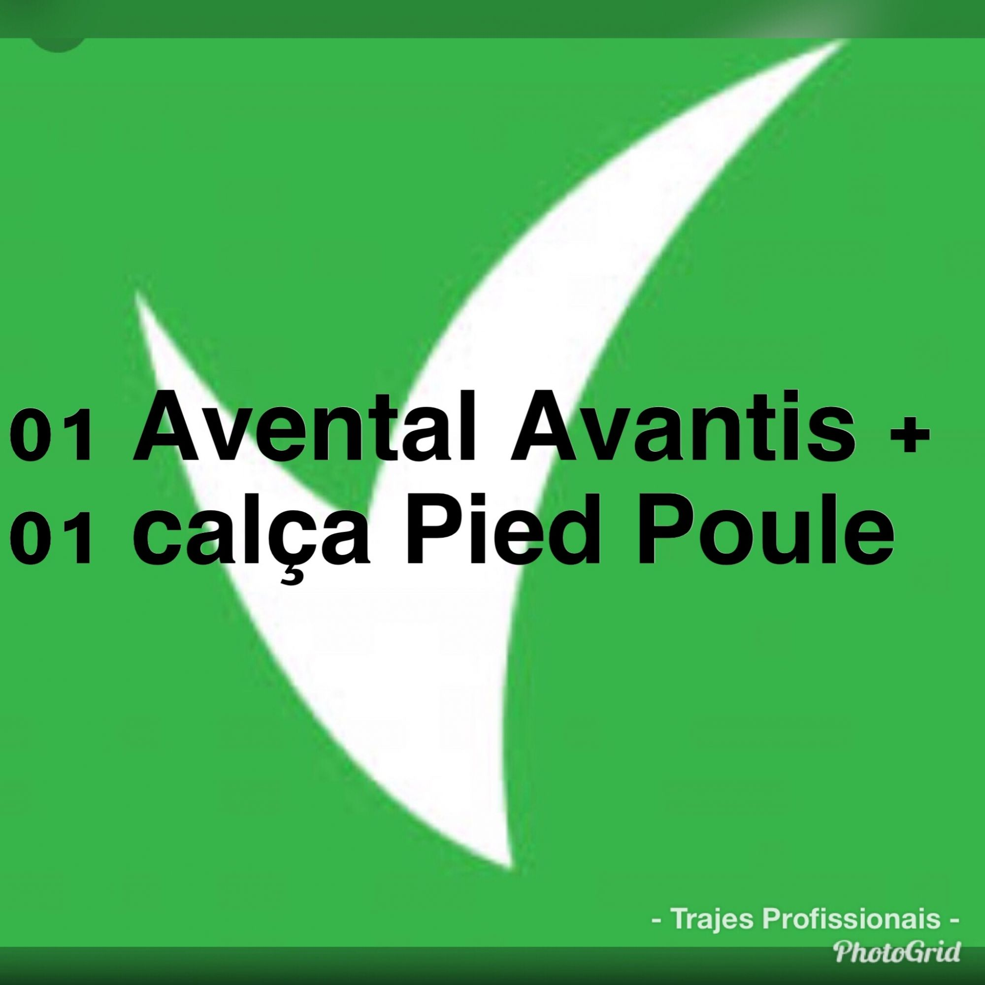 Conjunto: 01 avental bistrô Avantis + 01 calça pied poule