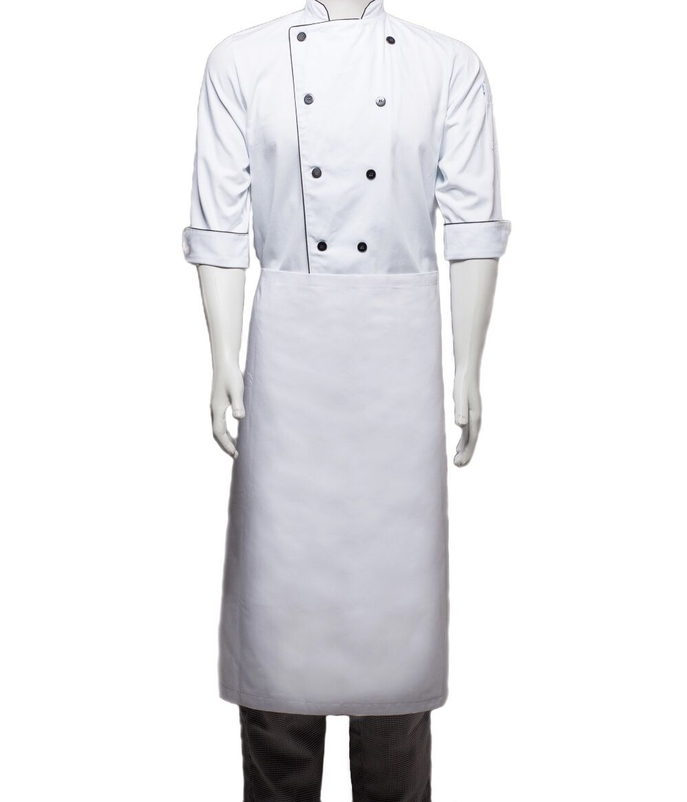Conjunto: Dólmã CLASSICO 100% algodão BRANCA COM nome e logomarca UNIASSELVI bordada + Avental 1Frente branco 100% Algodão + Calça com elástico total pied poule