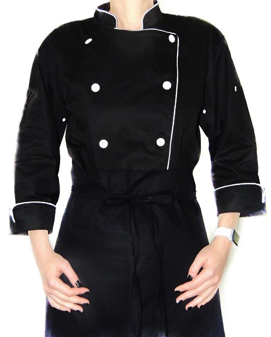 Conjunto Dólmã Clássica 100% algodão PRETA VIVO BRANCO  + avental 4 Frentes PRETO 100%algodão + Calça com elástico total PRETA + chapéu gourmet