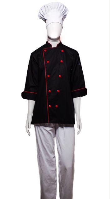 Conjunto Dólmã 100% algodão PRETA VIVO VERMELHO  + avental 4 Frentes branco 100% algodão + Calça com elástico total pied poule + chapéu gourmet