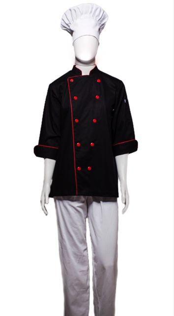 Conjunto Dólmã 100% algodão PRETA VIVO VERMELHO  + Avental 4 Frentes PRETO 100% algodão + Calça com elástico total pied poule + chapéu gourmet