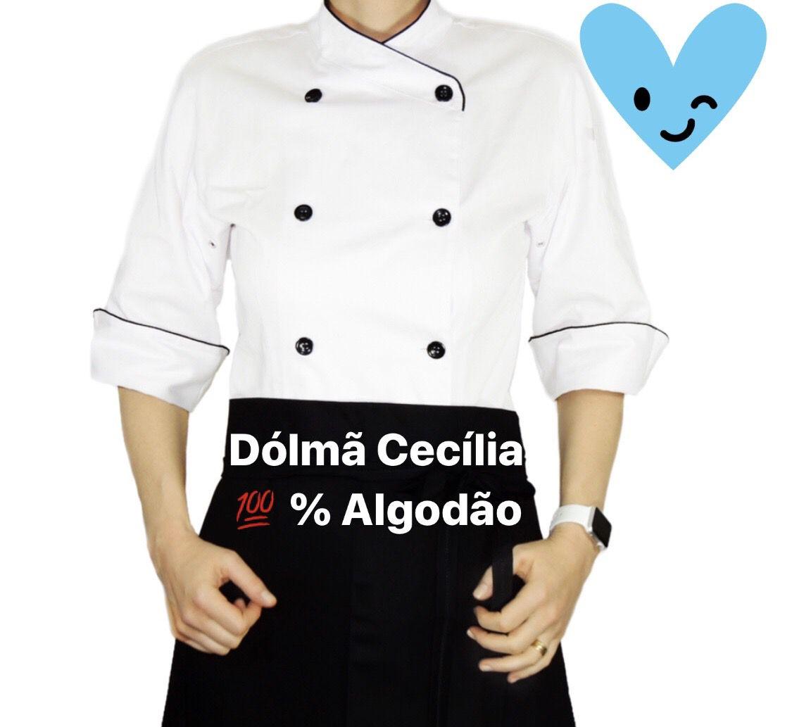 Conjunto  Dólmã Cecilia Feminina Acinturado BRANCA 100% Algodão com Vivo PRETO e botões PRETOS + Avental 4 frentes  PRETO