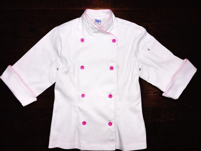 Conjunto  Dólmã Cecilia Feminina Acinturado BRANCA com VIVO ROSA Avental 4 Frentes BRANCO Sarja Leve 100% algodão  com  botões ROSA