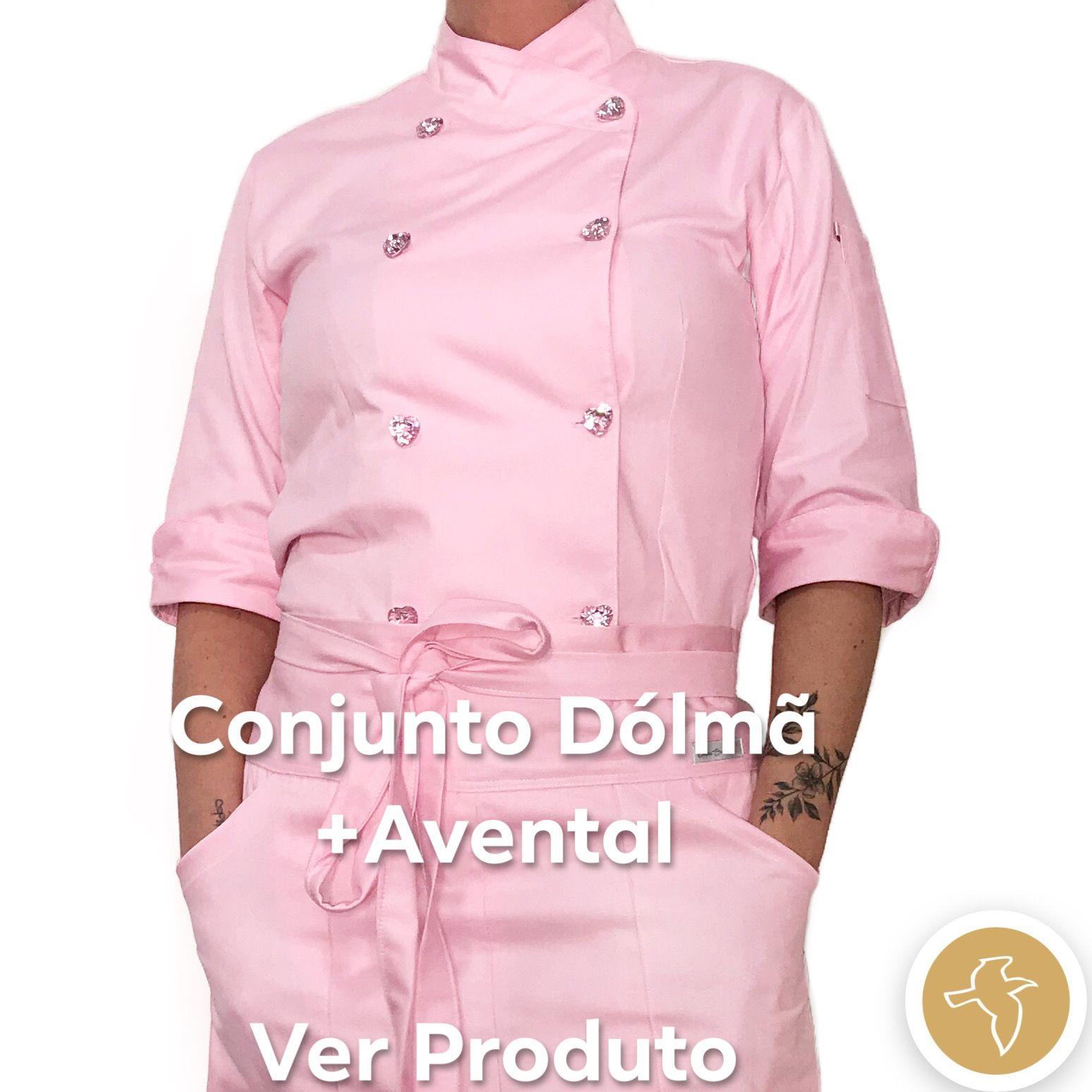 Conjunto  Dólmã Cecilia Feminina Acinturado ROSA  100% Algodão com VIVO ROSA e botões PINK HEART Avental ROSA Abertura Frontal  2 BOLSOS 100% Algodão