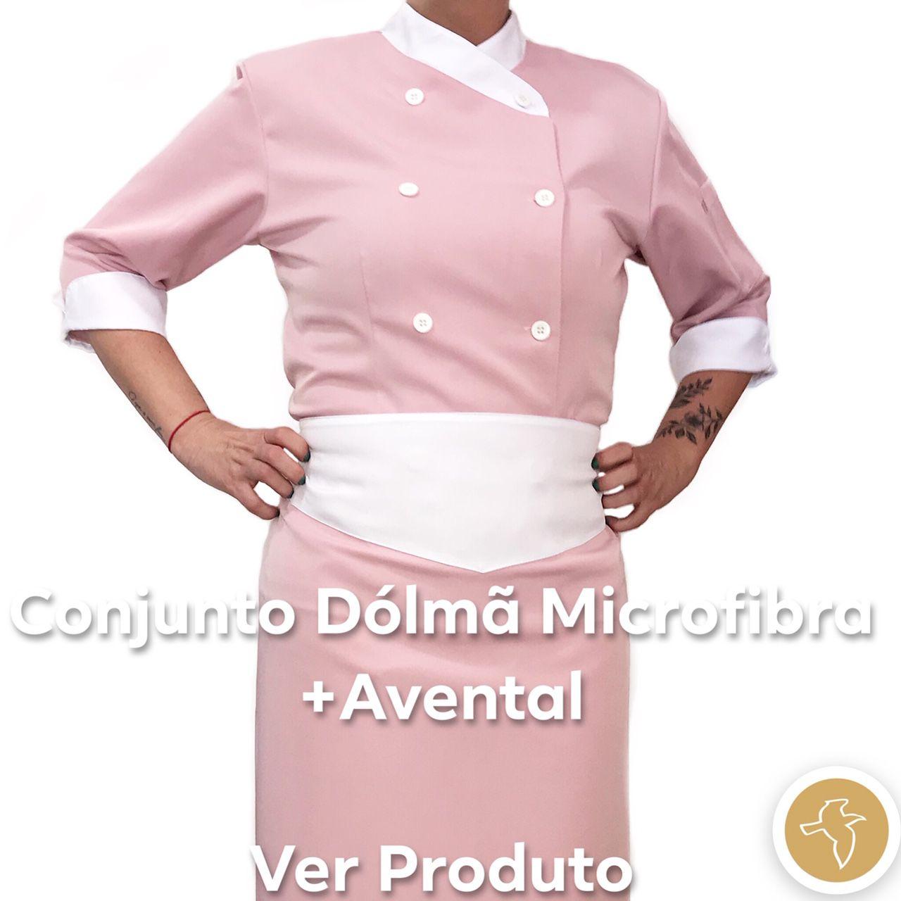 Conjunto  Dólmã Cecilia Feminina Acinturado ROSA ANTIGO 100% Poliéster com Botões BRANCOS detalhe BRANCO  Avental ROSA ANTIGO com detalhe BRANCO