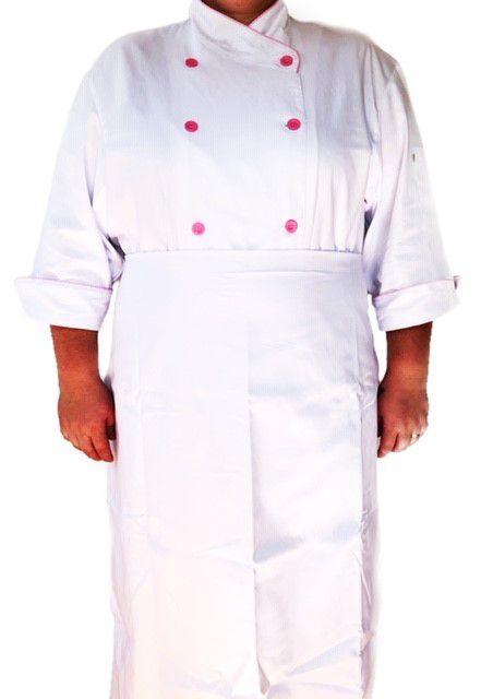 Conjunto  Dólmã Cecilia Feminina PLUS SIZE BRANCA com VIVO ROSA Avental 4 Frentes BRANCO Sarja Leve 100% algodão  com  botões ROSA