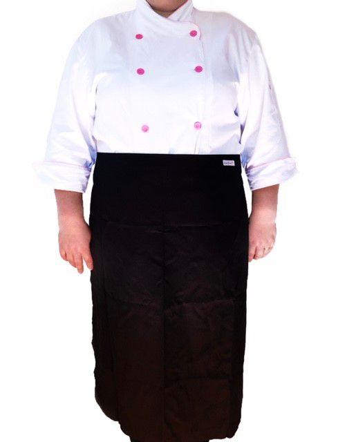 Conjunto  Dólmã Cecilia Feminina PLUS SIZE BRANCA com VIVO ROSA Avental 4 Frentes PRETO Sarja Leve 100% algodão  com  botões ROSA