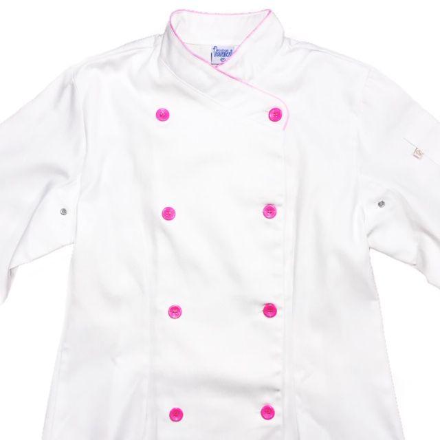 Conjunto Dólmã Cecília Feminino Acinturado BRANCA Vivo ROSA com botões ROSA Sarja Leve 100% algodão + Calça ROSA ANATOMYS CORDÃO AZUL