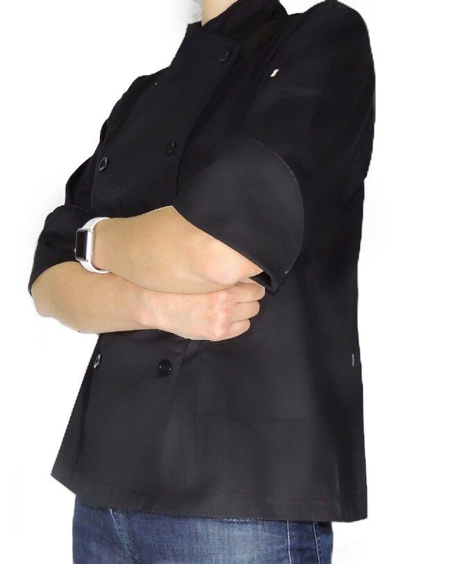 CONJUNTO Dólmã Cecilia Preto Acinturado com vivo e botões PRETOS - 100% algodão manga 3/4 +AVENTAL PRETO BRIGADEIRO PINK SHINE