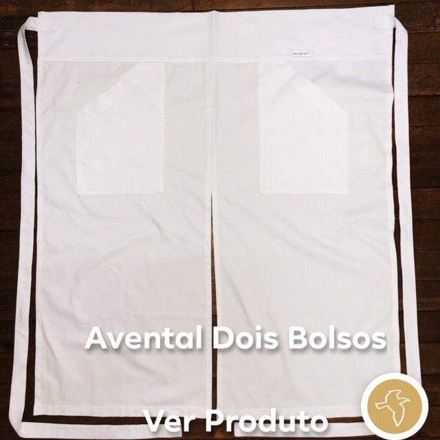 Conjunto: Dólmã Classica 100% algodão BRANCA + Avental 2 Bolsos Abertura Frontal Branco 100% Algodão