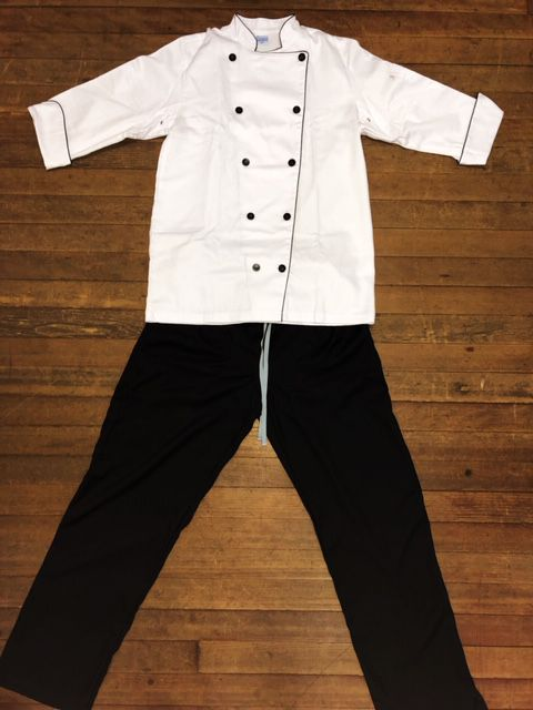 Conjunto Dólmã Clássica 100% algodão branca  + Calça ANATOMYS PRETA CORDÃO CINZA