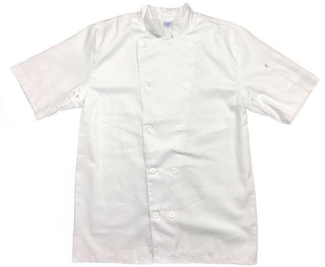 Conjunto Dólmã Clássica Manga Curta 100% algodão BRANCA + Avental Sam Jeans Abertura Frontal 100% Algodão
