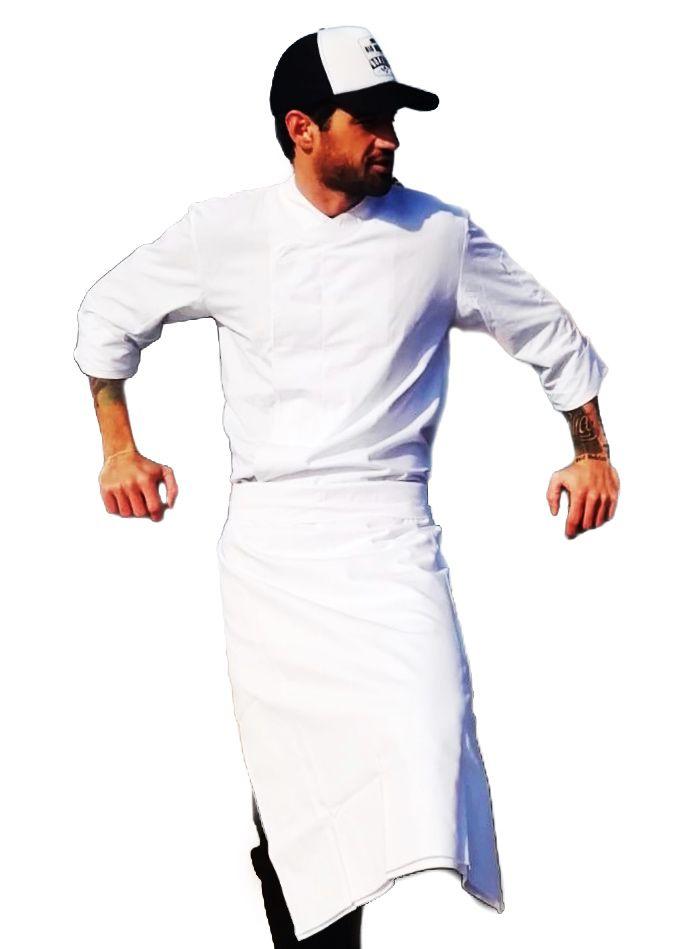 Conjunto: Dólmã  GOURMET TRICOLINE 100% algodão BRANCA BOTÕES PRESSÃO + Avental 4 Frentes branco SARJA 100% Algodão