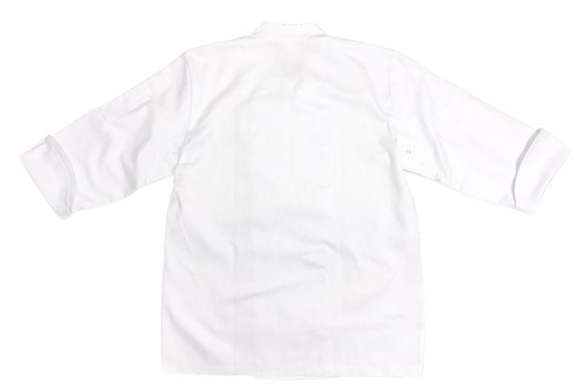 Conjunto Dólmã GOURMET Unissex BRANCO Botões Pressão 100% algodão Manga 3/4 + AVENTAL UMA FRENTE PRETO