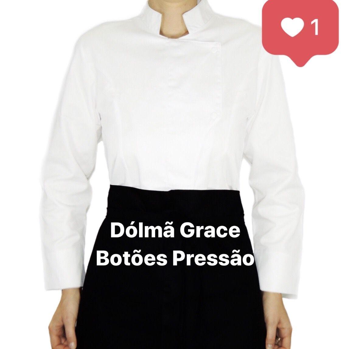 CONJUNTO Dólmã Grace Feminina  Acinturada BRANCA em Sarja 100% Algodão + AVENTAL 1 FRENTE PRETO 100% ALGODÃO (abotoamento de pressão)