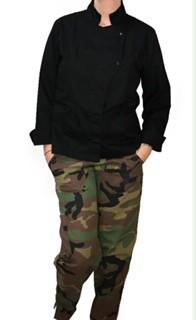 Conjunto Dólmã GRACE Feminino Acinturado PRETA e botões PRESSÃO Sarja Leve 100% algodão + Calça Camuflada Army ANATOMYS MICROFIBRA CORDÃO Preto