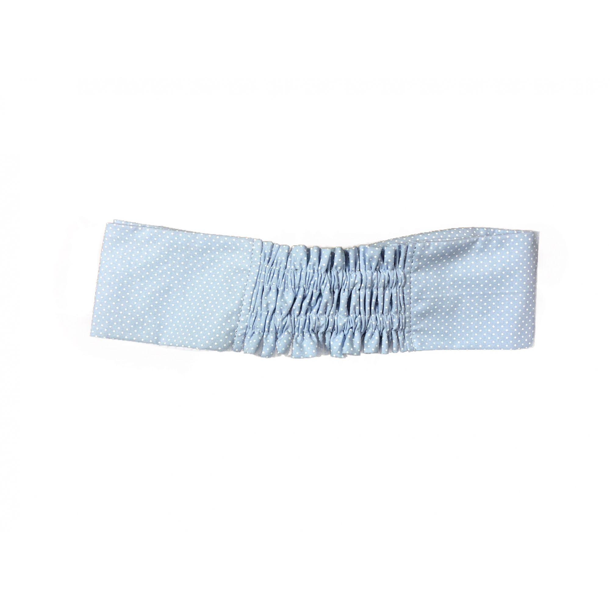 Conjunto  Dólmã Mary Feminina Acinturado BRANCA com detalhe Poá AZUL Avental AZUL e Headband Poá AZuL Sarja Leve 100% algodão  com  botões AZUL