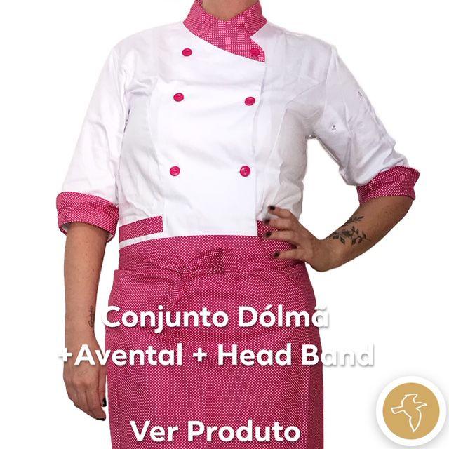 Conjunto  Dólmã Mary Feminina Acinturado BRANCA com detalhe Poá Pink Avental Poá Pink e Headband Poá Pink Sarja Leve 100% algodão  com  botões Pink