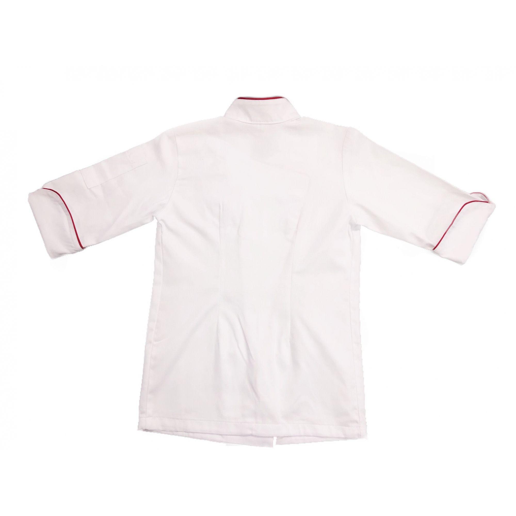 Conjunto Dólmã MINI CHEF Clássica  Unisex Branca Botões Vivo Vermelho + Avental Mini Preto  100% Algodão Manga 3/4