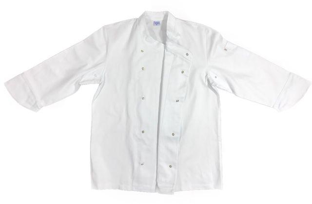 Conjunto Dólmã UNISEX SENAC Gourmet Botões Pressão personalizada padrão SENAC com nome e logomarca bordados + 01 avental BRANCO + 01 Calça elástico total