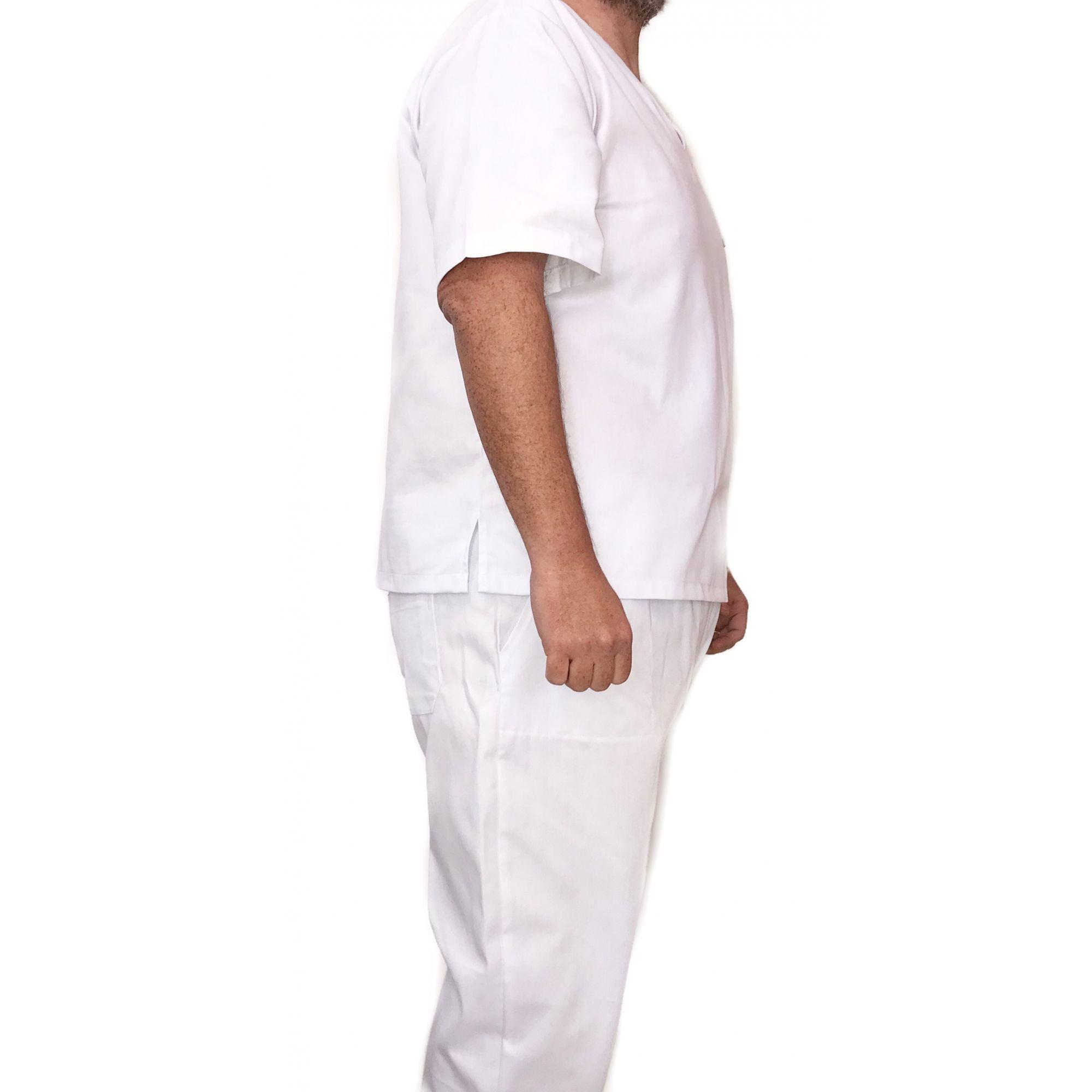 Conjunto Pijama Cirúrgico BRANCO Masculino PLUS SIZE  Camisa e Calça com Cordão Tecido 100% Poliéster