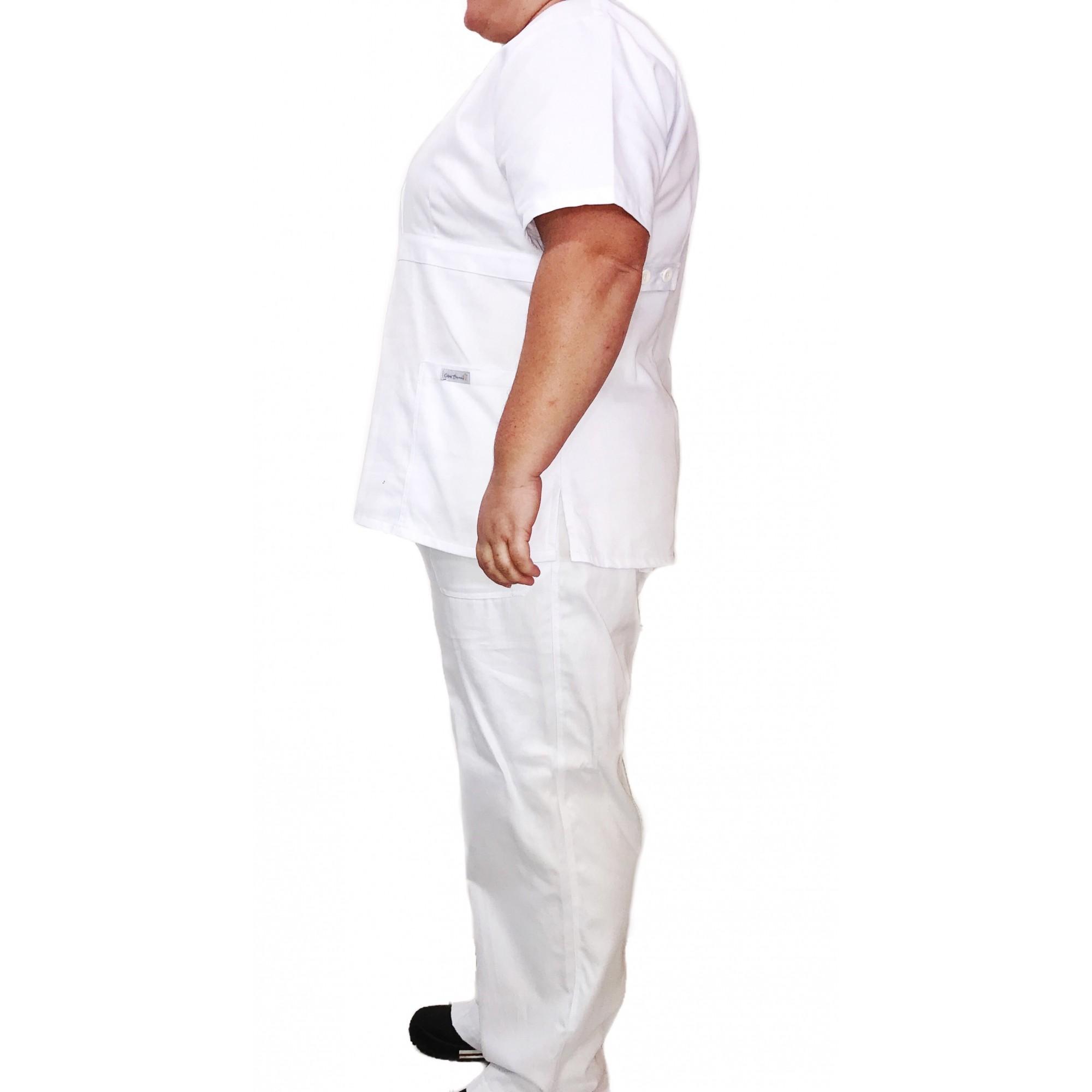 Conjunto Pijama Cirúrgico BRANCO Scrub Anatomys Feminino PLUS SIZE  Camisa e Calça com Cordão Tecido 100% algodão