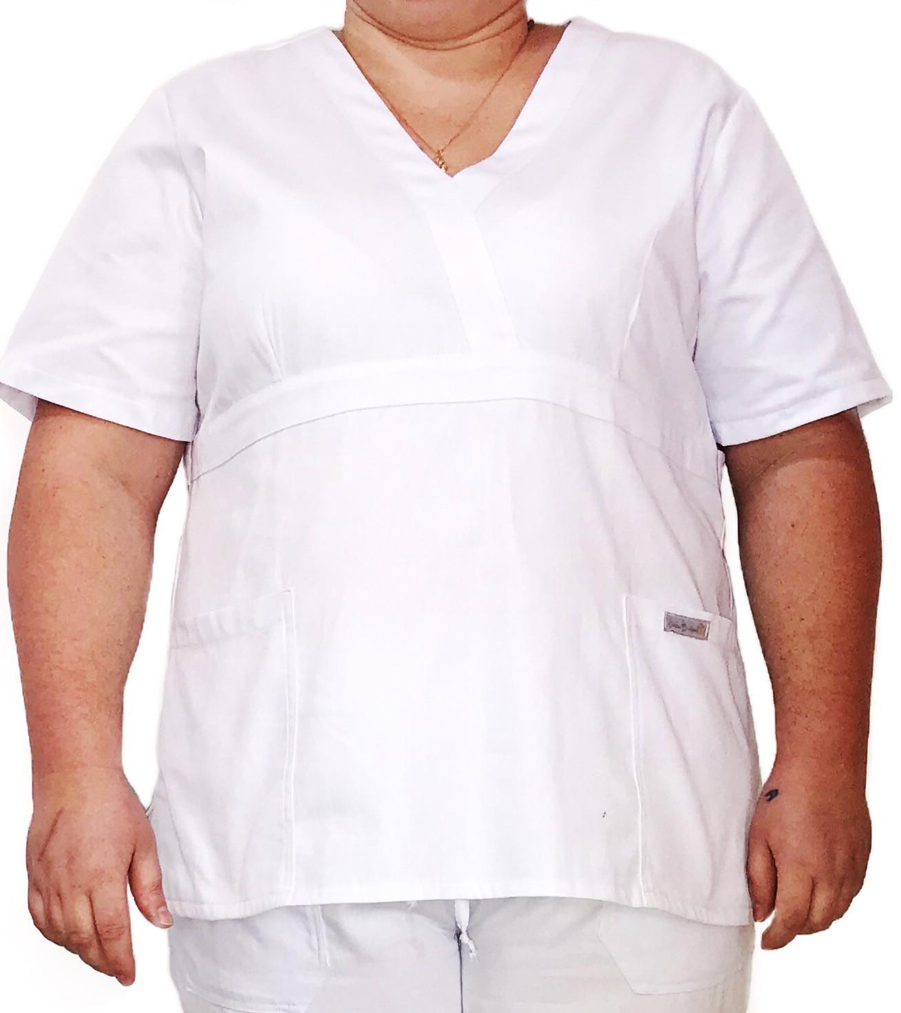 Conjunto Pijama Cirúrgico BRANCO Scrub Anatomys Feminino PLUS SIZE  Camisa e Calça com Cordão Tecido Microfibra 100% Poliéster