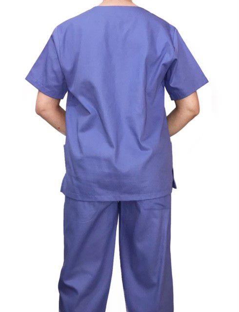 Conjunto Pijama Cirurgico  Lilas  Masculino  Camisa e Calça com Cordão  Azul Tecido 100% algodão