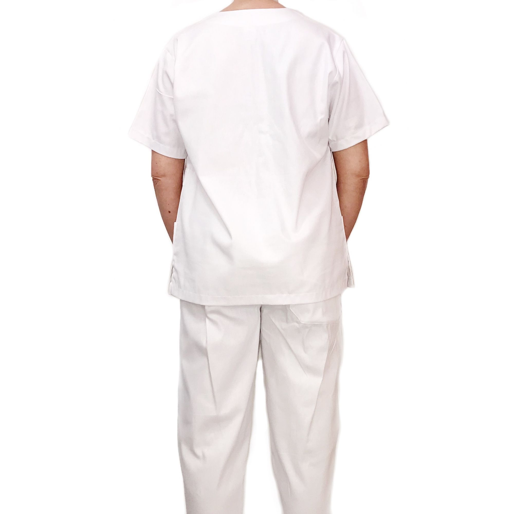 Conjunto Pijama Cirurgico SCRUB MASCULINO BRANCO Camisa e Calça com Cordão Tecido 100% algodão