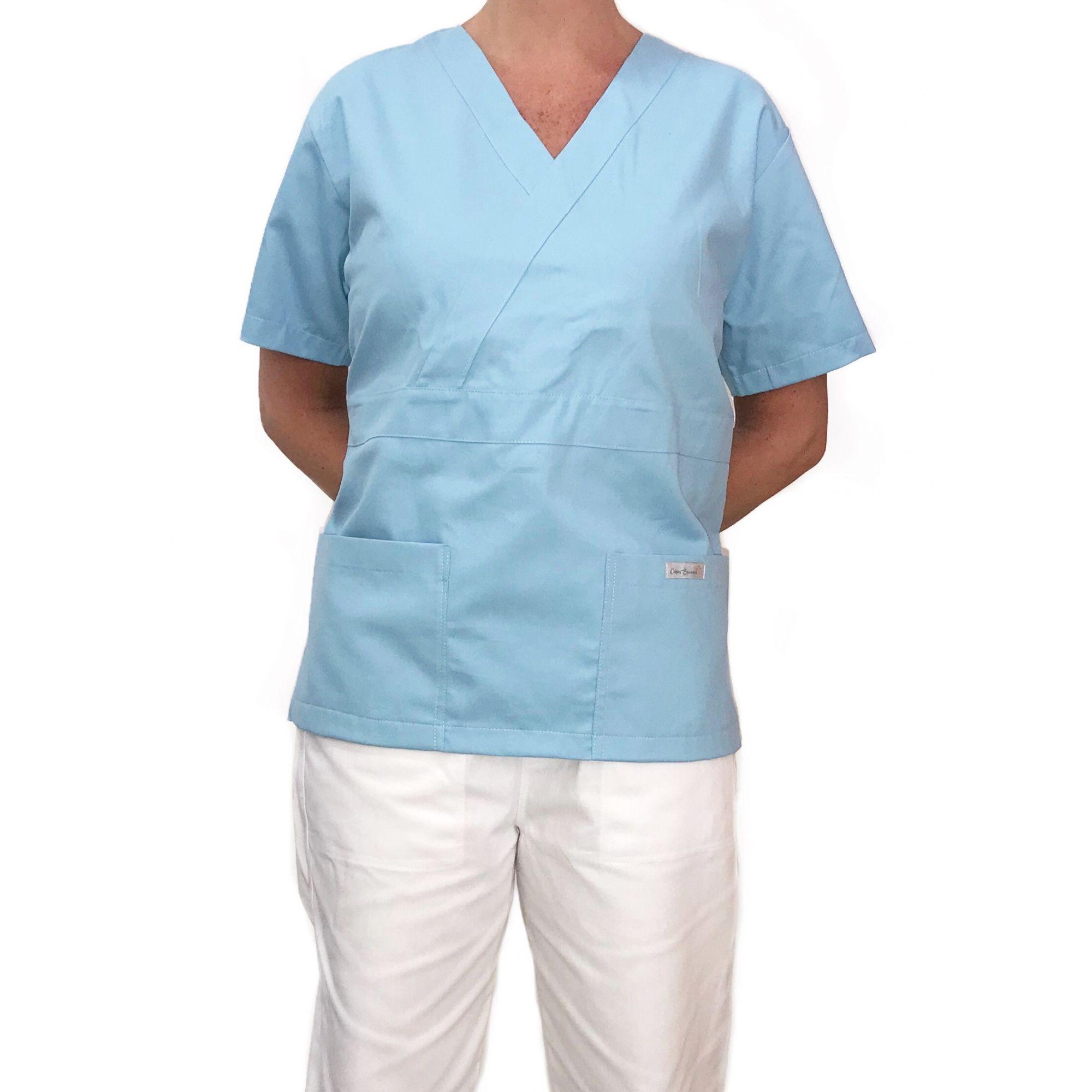 Conjunto Pijama Cirurgico SCRUB MASCULINO  Camisa AZUL CLARO e Calça BRANCA com Cordão Tecido 100% algodão
