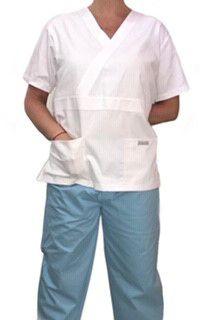 Conjunto Pijama Cirurgico SCRUB MASCULINO  Camisa BRANCA  e Calça AZUL CLARO com Cordão Tecido 100% algodão