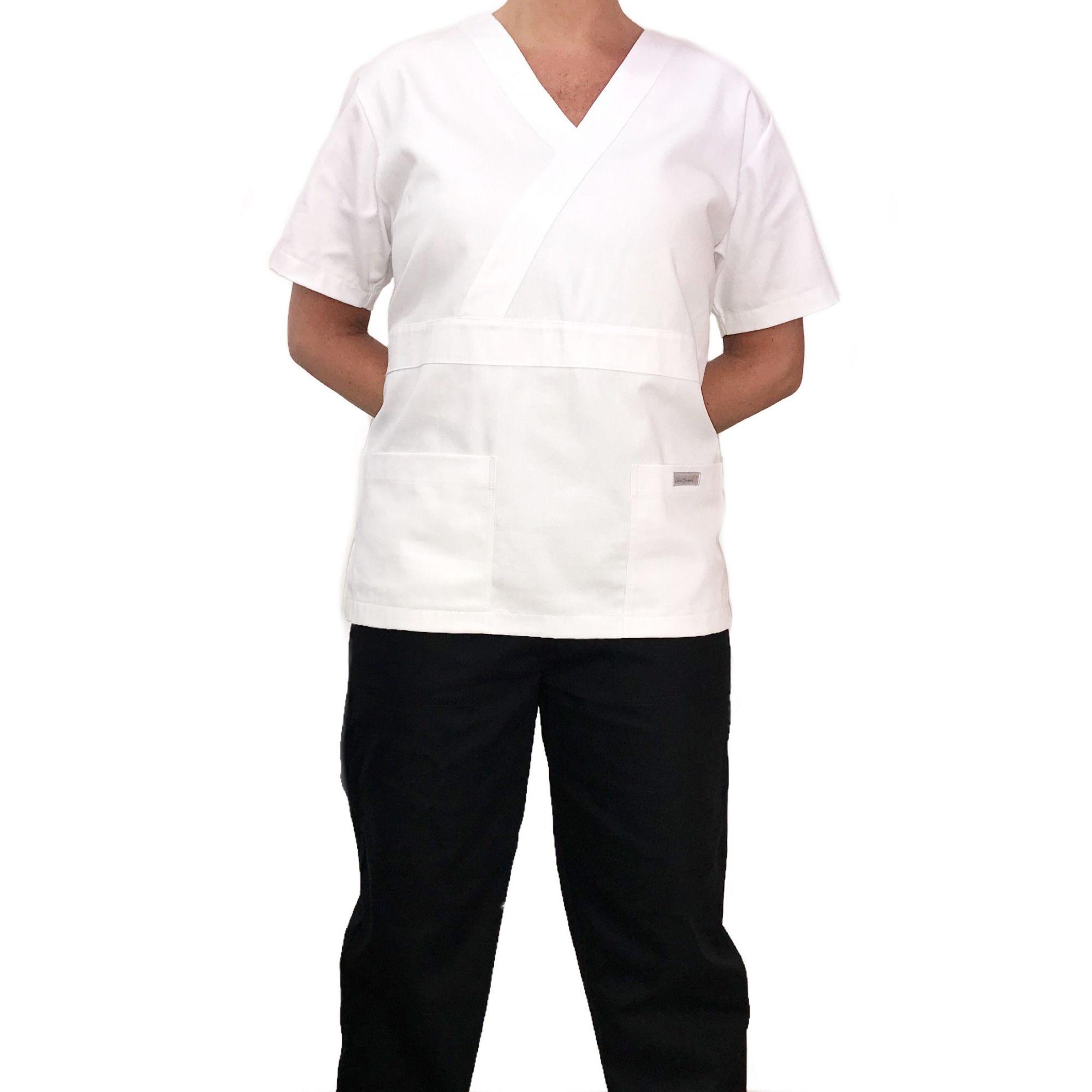 Conjunto Pijama Cirurgico SCRUB MASCULINO  Camisa BRANCA e Calça PRETA  com Cordão Microfibra 100% Poliéster