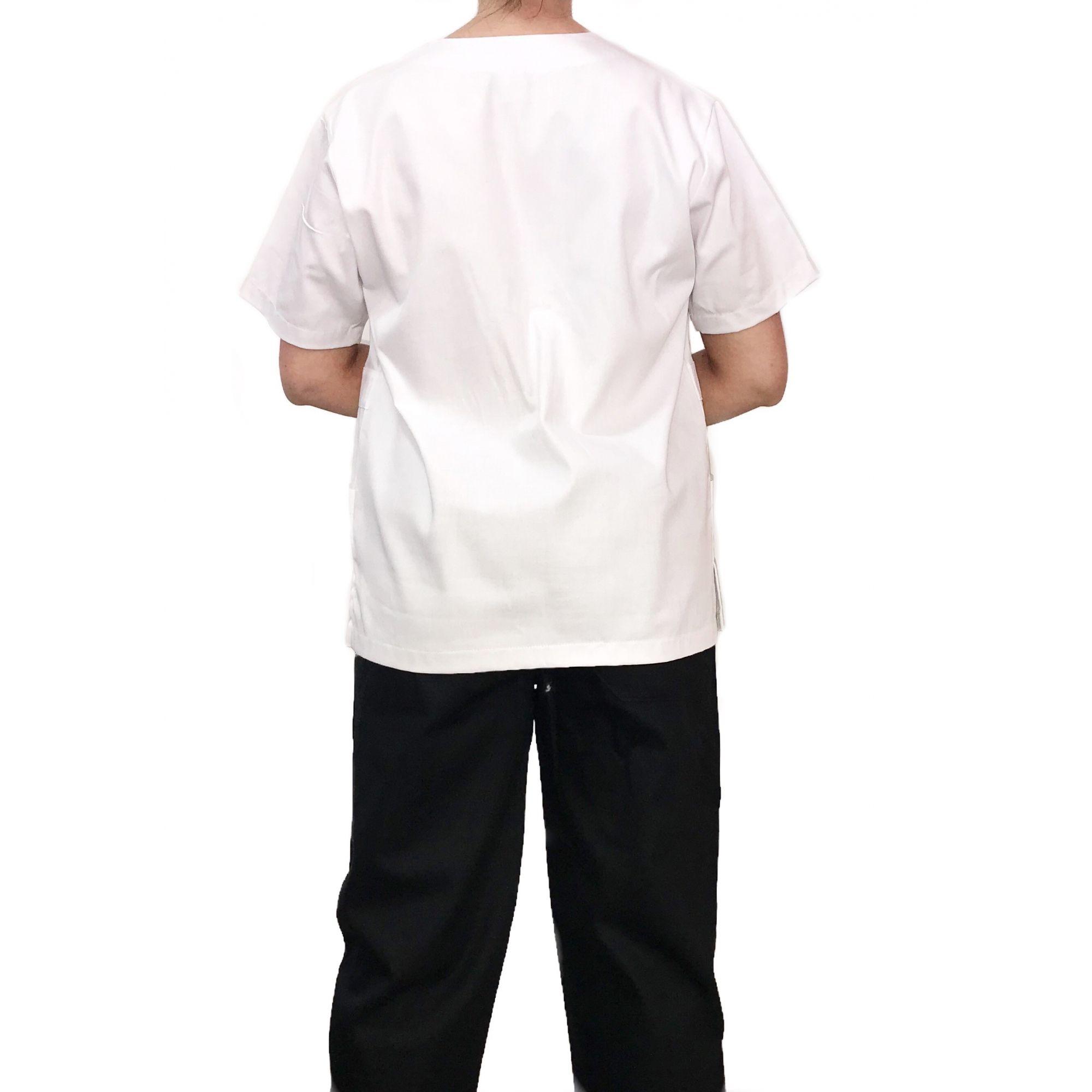 Conjunto Pijama Cirurgico SCRUB MASCULINO  Camisa BRANCA e Calça PRETA  com Cordão Tecido 100% algodão