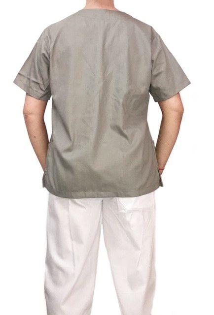 Conjunto Pijama Cirurgico SCRUB MASCULINO  Camisa CINZA e Calça BRANCA com Cordão Tecido 100% algodão