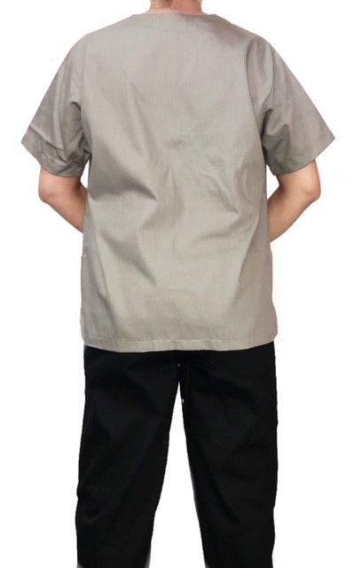 Conjunto Pijama Cirurgico SCRUB MASCULINO  Camisa CINZA  e Calça PRETA  com Cordão Tecido 100% algodão