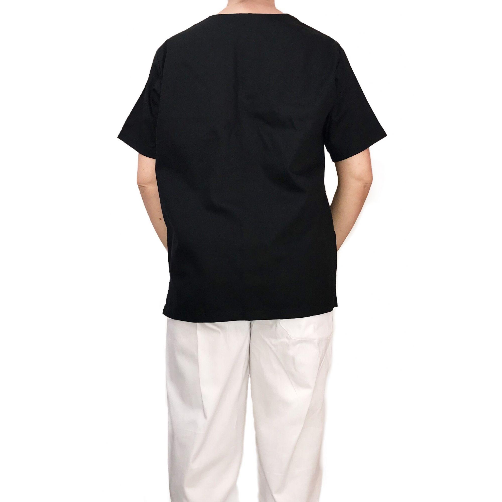 Conjunto Pijama Cirurgico SCRUB MASCULINO  Camisa PRETA e Calça BRANCA com Cordão Tecido 100% algodão