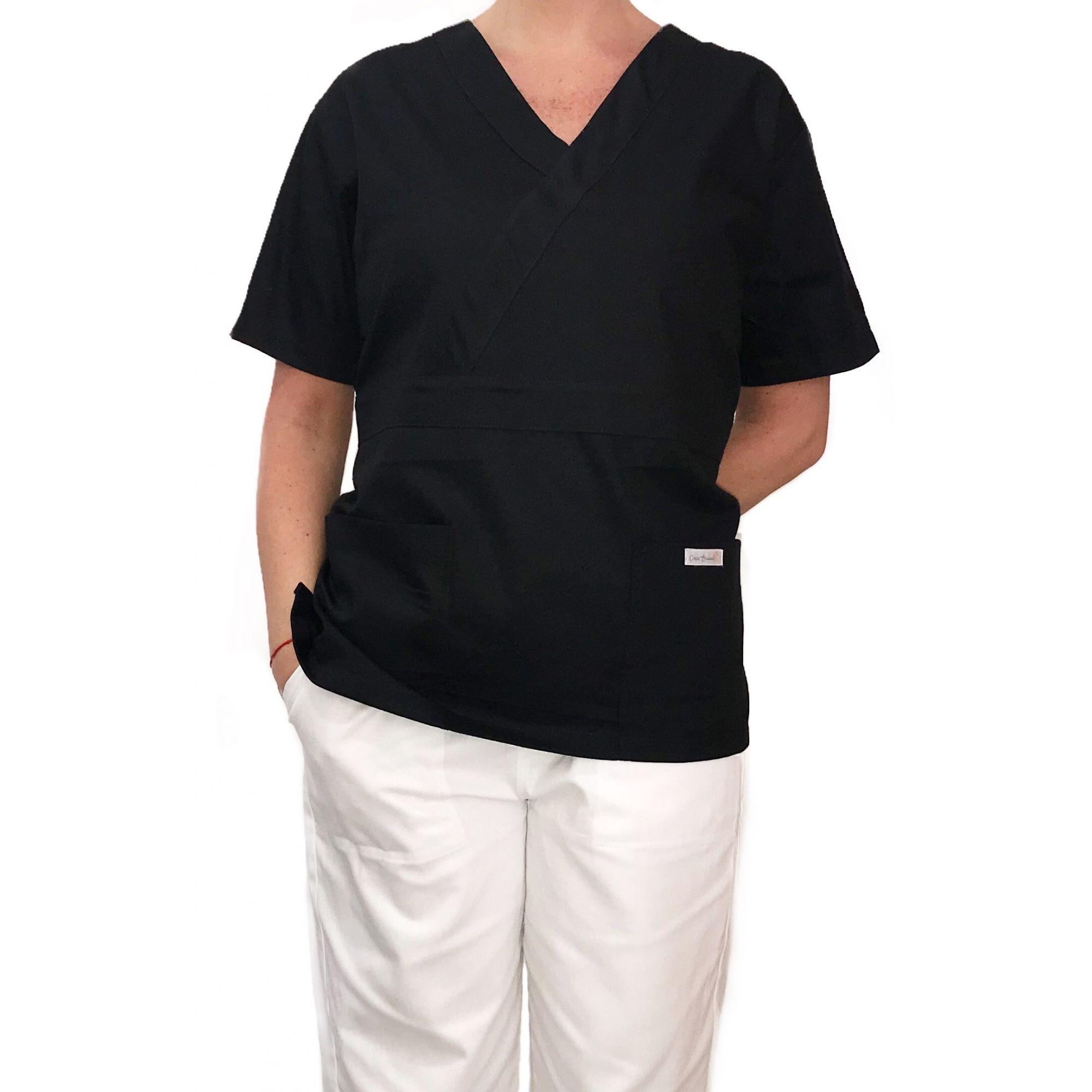 Conjunto Pijama Cirurgico SCRUB MASCULINO  Camisa PRETA e Calça BRANCA com Cordão Tecido Microfibra 100% Poliéster