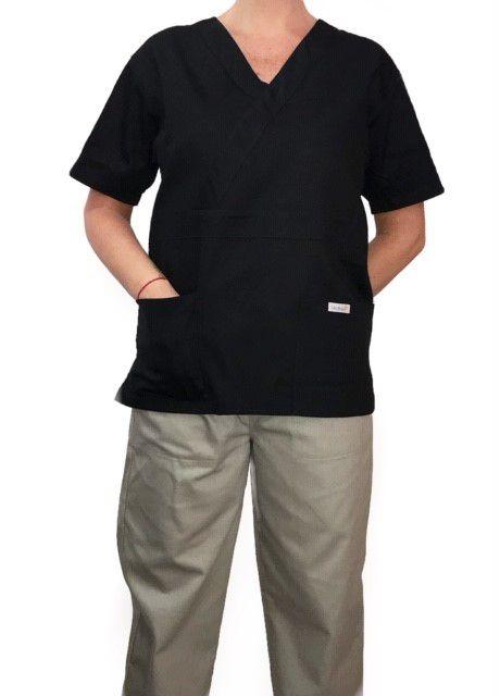 Conjunto Pijama Cirurgico SCRUB MASCULINO  Camisa PRETA e Calça Cinza com Cordão Tecido 100% algodão