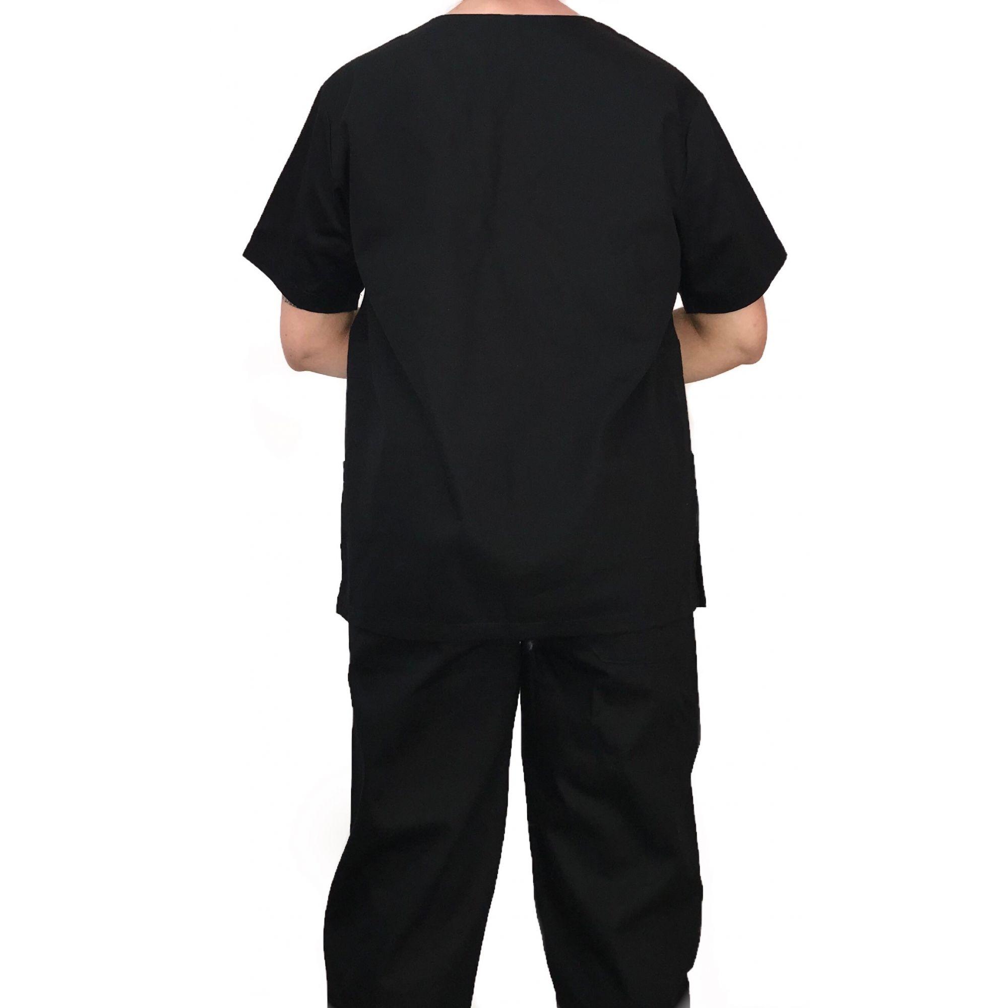 Conjunto Pijama Cirurgico SCRUB MASCULINO  Camisa PRETA e Calça PRETA com Cordão Tecido 100% algodão