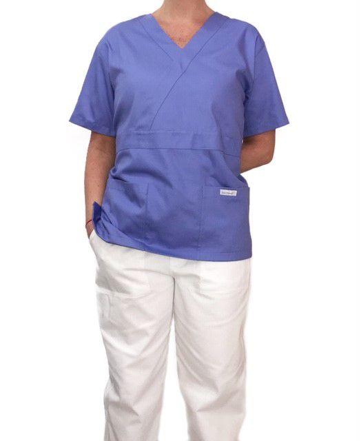 Conjunto Pijama Cirurgico SCRUB MASCULINO  Camisa Lilás e Calça Branca com Cordão Branco Tecido 100% algodão