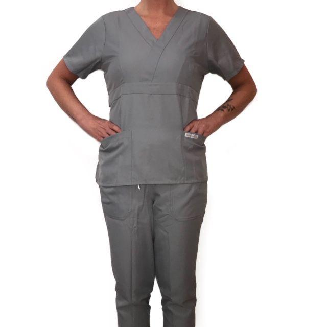 Conjunto Scrub Anatomys Feminino CINZA Camisa com ajuste para acinturar Atras e Cordão BRANCO para Calça Tecido 100% Poliéster