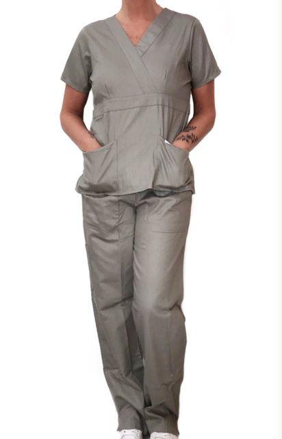 Conjunto Scrub Anatomys Feminino CINZA Camisa com ajuste para acinturar Atrás e Cordão Verde  para Calça Tecido 100% Algodão
