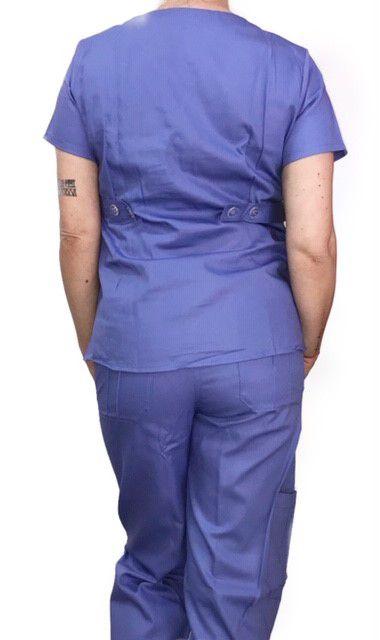 Conjunto  Scrub Anatomys Feminino Lilás  Camisa com ajuste para acinturar atrás e calça Com Elástico e Cordão Lilás 100% Algodão