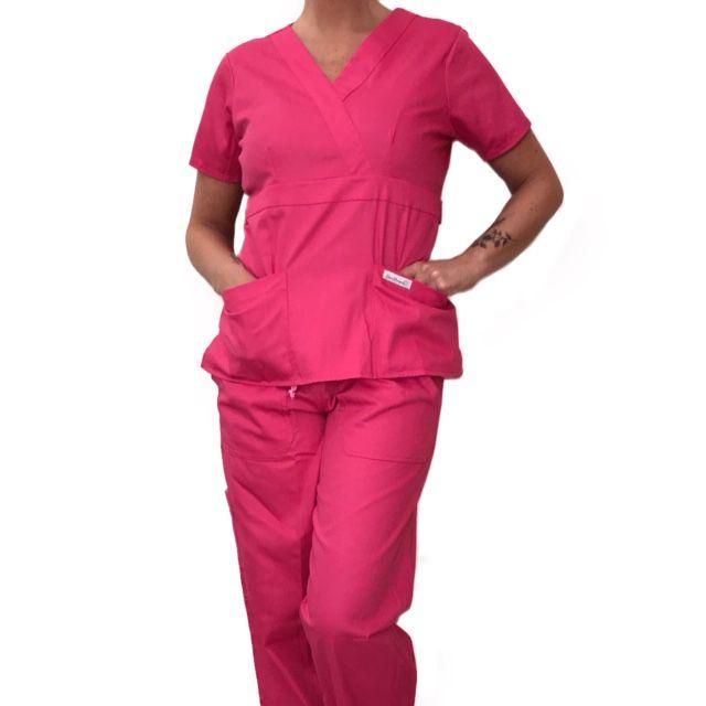 Conjunto Scrub Anatomys Feminino PINK Camisa com ajuste para acinturar Atrás e Cordão ROSA para Calça Tecido 100% Algodão