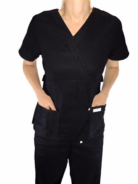 Conjunto Scrub Anatomys Feminino PRETO Camisa com ajuste para acinturar Atras e Cordão Pink para Calça Tecido Microfibra 100% Poliéster